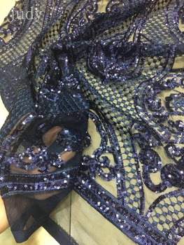 sequin fabric stock 5yards  XX149#  Dark blue A sequined grid of embroidery threads for bridal wedding dress/sawing