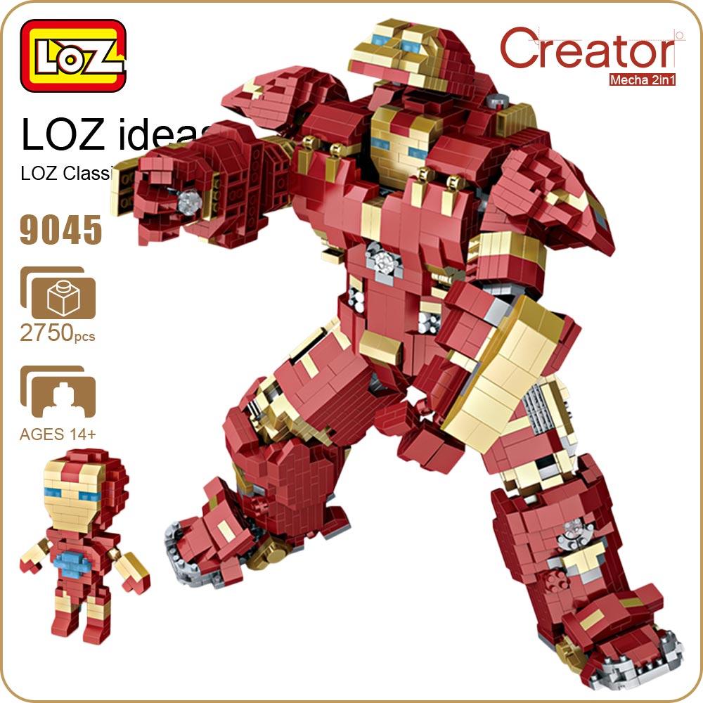 LOZ Diamond Blocks Building Mecha Iron Robot 2 In 1 Super Hero Brick Superhero Action Figures Toys for Children DIY Kid Boy 9045