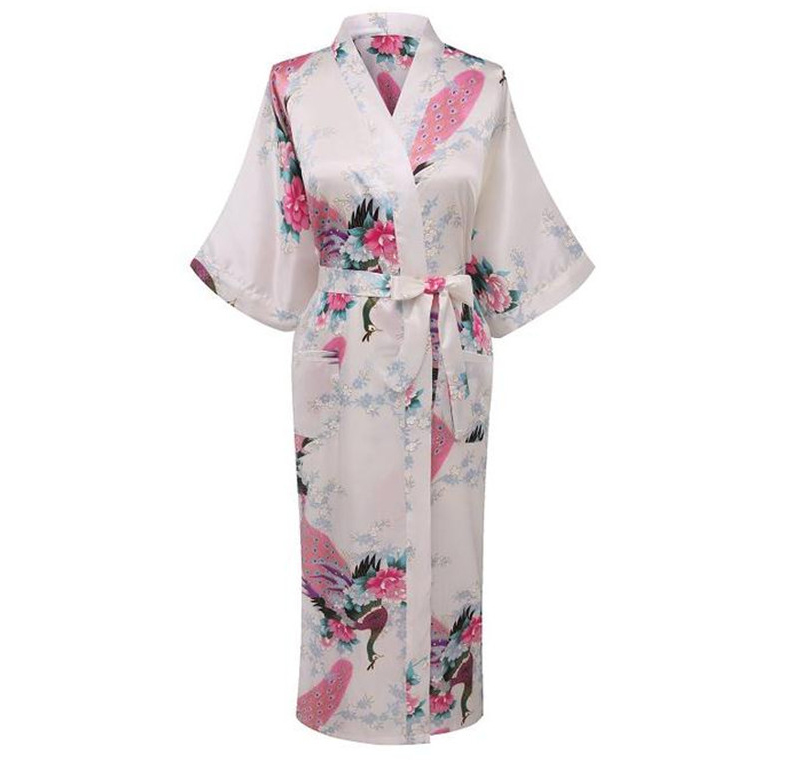 2019 Hot New Fashion White Female Kimono Robe Gown Summer New Nightgown Sleepwear Flower Pajamas Size S M L XL XXL XXXL A-110