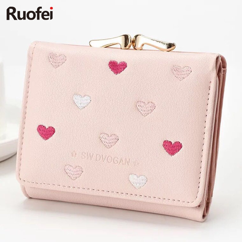 New fashion Colorful Lady Lovely Coin Purse Solid Golden Heart Clutch Wallet Large Capacity Women Small Bag Cute Card Hold weichen pink love heart short wallet purse for fashion lady lovely mini day clutch
