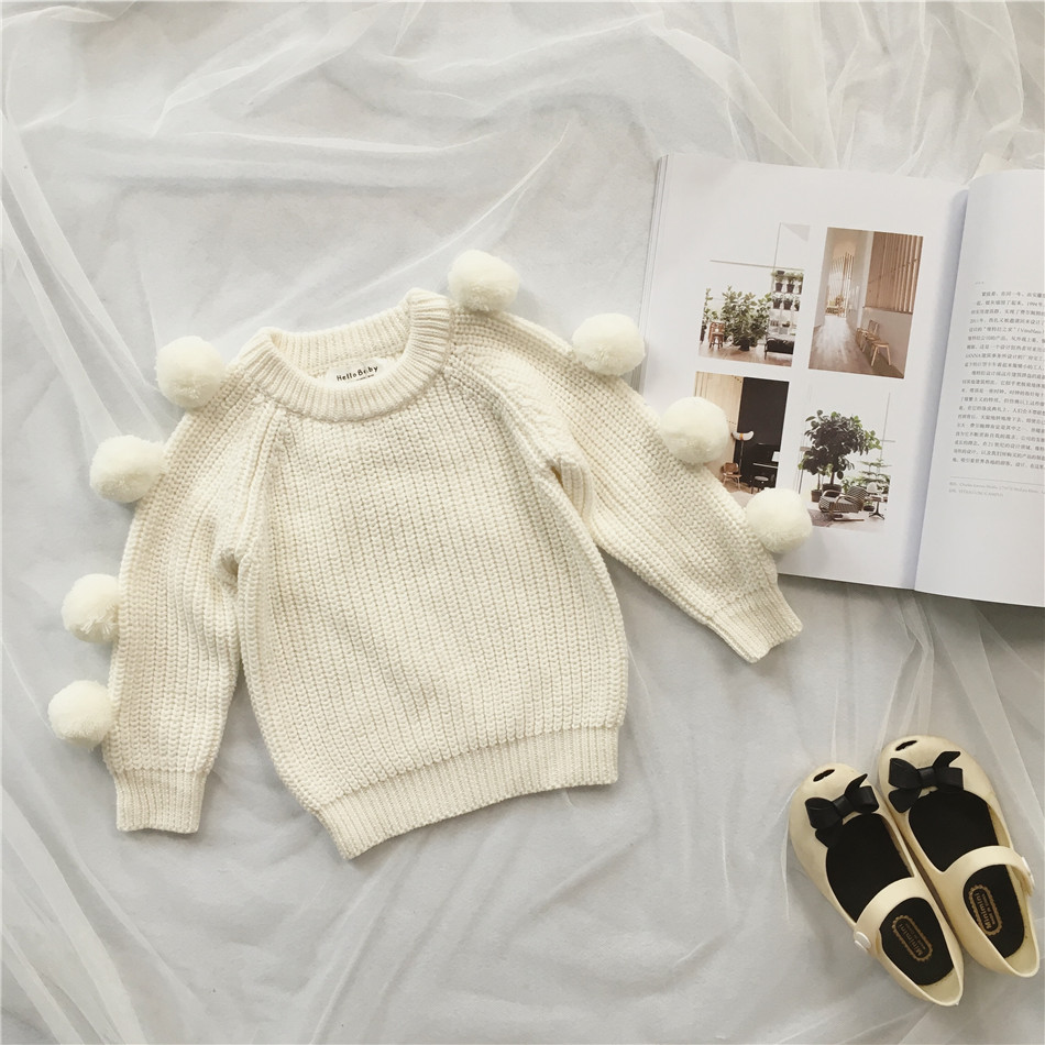 Kids Fur Balls White Pullover Tops Autumn Winter Children Sweater Jumper Babys Cute Tops Princess Clothes