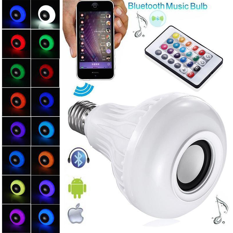Smart RGBW Wireless Bluetooth Speaker Bulb Music Playing Dimmable E27 E26 B22 LED Bulb Light Lamp with 24 Keys Remote Control
