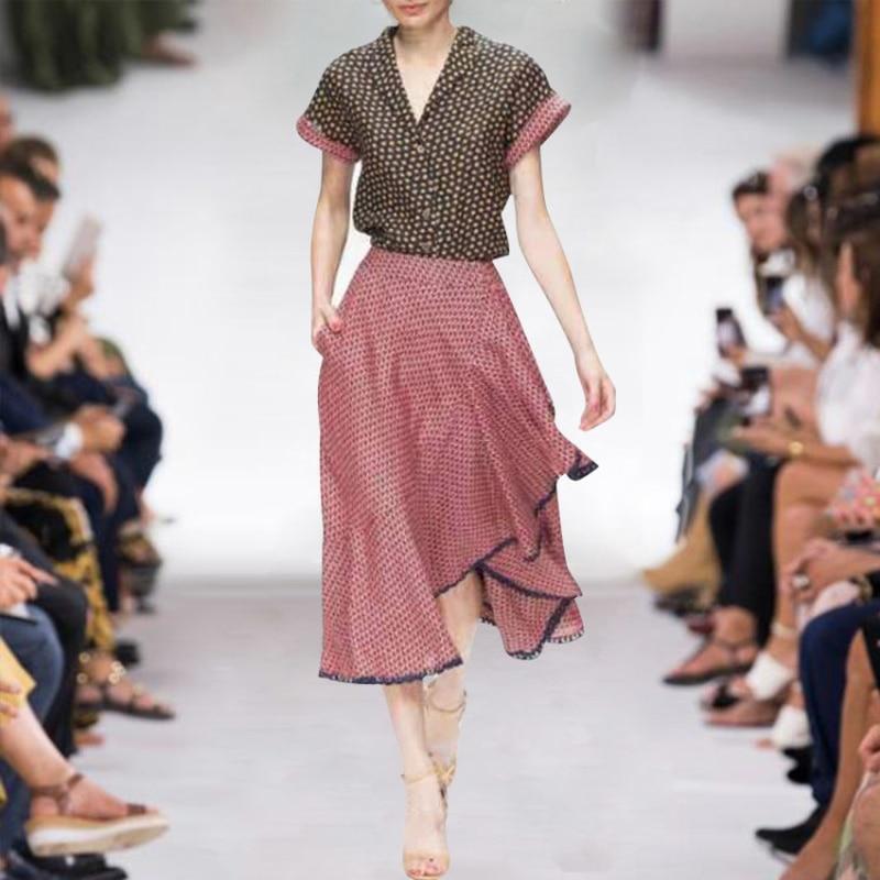 Nouvelle mode femmes 2 pièces ensembles demi manches t-shirt + jupe volantée femmes vêtements de sport costumes col rabattu simple bouton imprimé