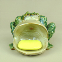 Funny Ceramic Frog Statue Soap Box Decorative Porcelain Bathroom Soap Dish Organizer Houseware Essentials Utility Ornament Craft