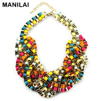 Statement Necklaces For Women 2014 Fashion Party Chokers Jewelry Thick Chain Handmade Lint Wrap Braid Chunky
