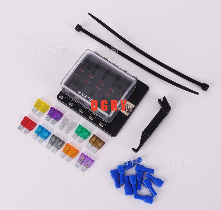 10 Way fuse set Terminals Circuit ATC ATO Car Auto Blade Fuse Box Block Holder with 10 pcs fuse,fuse puller and 10 terminals vehicle automotive blade fuse holder with a line of high quality waterproof fuse holder