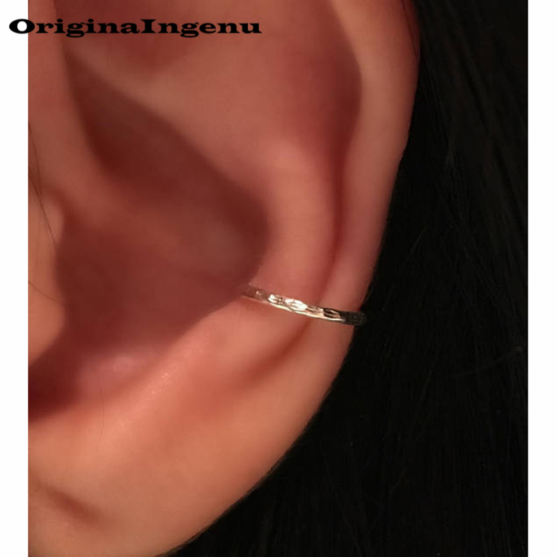 925 Silver Ear Clip Gold Filled Jewelry Handmade 10mm Ear Cuff Fake Piercing Oorbellen Pendientes Boho Earrings For Women