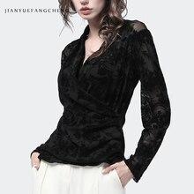 Élégant noir coupe Blouse florale femmes dentelle Blouses et hauts col en v à manches longues Pull sur la taille mince 2019 printemps épaissir dame chemise