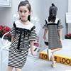 School Girls Dress Teenagers Dresses 12 10 14 Years 2017 Summer Preppy Style White Black Striped
