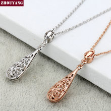 Classic Hollowed-out Water Drop Rose Gold Color / Sivler Color Fashion Jewelry Sets Necklace+Earring Wholesale ZYS381 ZYS382