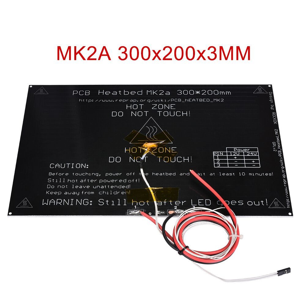 MK2A 300*200*3MM Heatbed Aluminum Plate With Led Thermsitor RepRap Ramps 1.4 Like MK2B MK3 Heated Bed For 3D Printer Parts