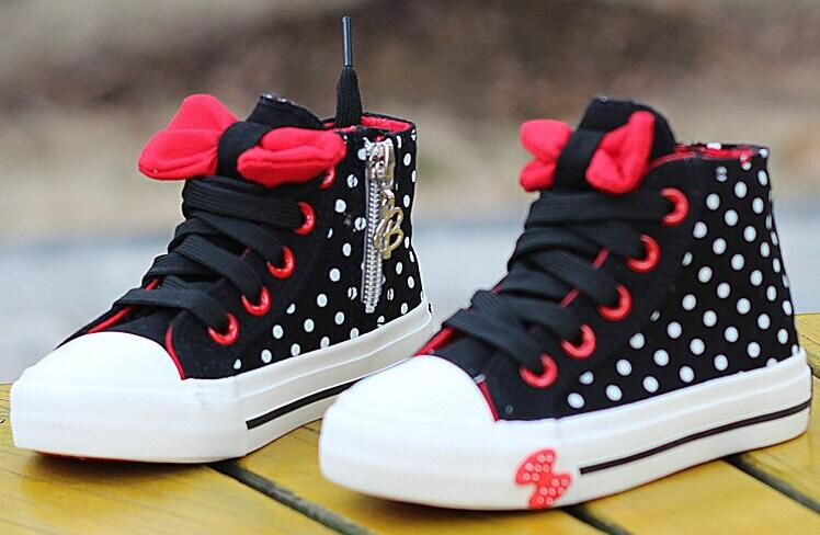 Fashion Kids 2018 Children Canvas Shoes Girls Cotton Sneaker Child Boots Zipper Bow Baby Tenis For Kids Trainer Sport Falt Shoe