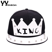 3D Crown King Baseball CAPS Men Hip Hop Snapback Last King Flat Brim Street Tide Cap