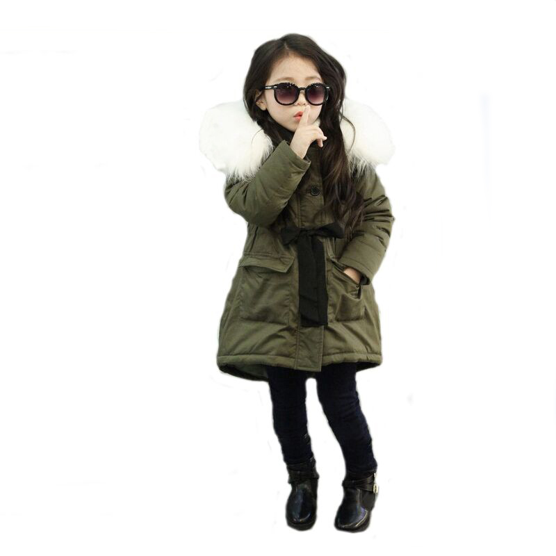 New 2017 Children Winter Jackets for Girls Army Green Plus Velvet Thicker Coat Warm Outerwear Fur Collar Hooded Parkas with Belt children s toy crossbow with infrared white army green