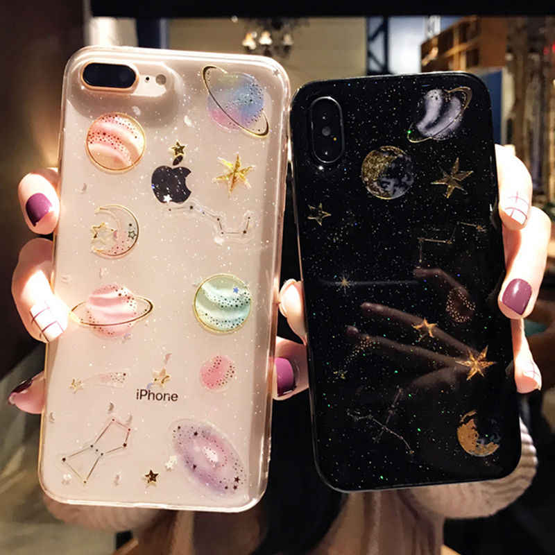 Fashion Shining Glitter Ruimte Planeet Telefoon Gevallen Voor Iphone 11 X Xr Xs Max 6 6S Plus 7 8 Plus soft Silicon Star Cover Case