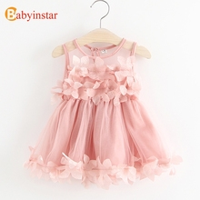 Фотография Babyinstar 2018 New Girls Princess Dress Floral Mesh Dress Children Sleeveless Clothes Girls Party Princess Dress
