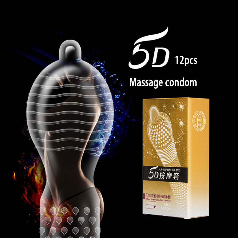 12 24PCS Big Particle 5D Dotted Thread Ribbed G Point Latex Condoms Contraceptives Big Particle Spike Condom for Men Sex Product image