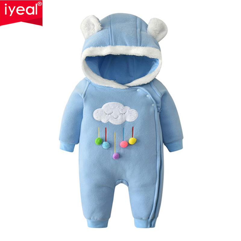 все цены на IYEAL Baby Boy Girl Winter Romper Hooded Velvet Thicken Embroidery Clouds Jumpsuit Kids Toddler Clothes Cotton Infant Outwear онлайн