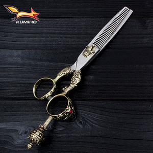 Image 4 - KUMIHO Japanese hair scissors kit 1 cutting scissors and 1 thinning scissors with leather case hair shear with crown handle