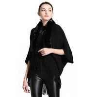 2019 New Fashion White Knitted Warm Cardigan Faux Fox Fur Collar Faux Cashmere Batwing Sleeves Wraps Tassel Shawl Poncho