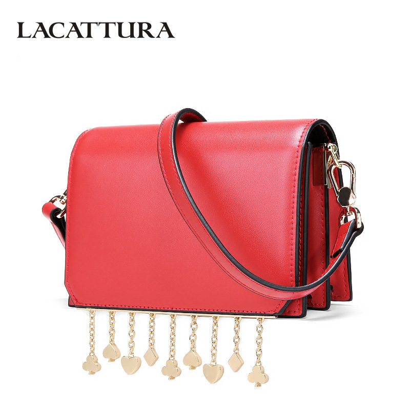 LACATTURA Female Small Messenger Bags Chains Pendant Women Leather Handbag Lady Fashion Flap Shoulder Bag Crossbody for Girls lacattura small bag women messenger bags split leather handbag lady tassels chain shoulder bag crossbody for girls summer colors