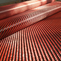 1100D Red Kevlar & 3K Carbon fiber mixed Fabric 200gsm 2x2 Twill Carbon Kevlar cloth Fabric Aramid fiber 100cm wide [ROLL PACK]