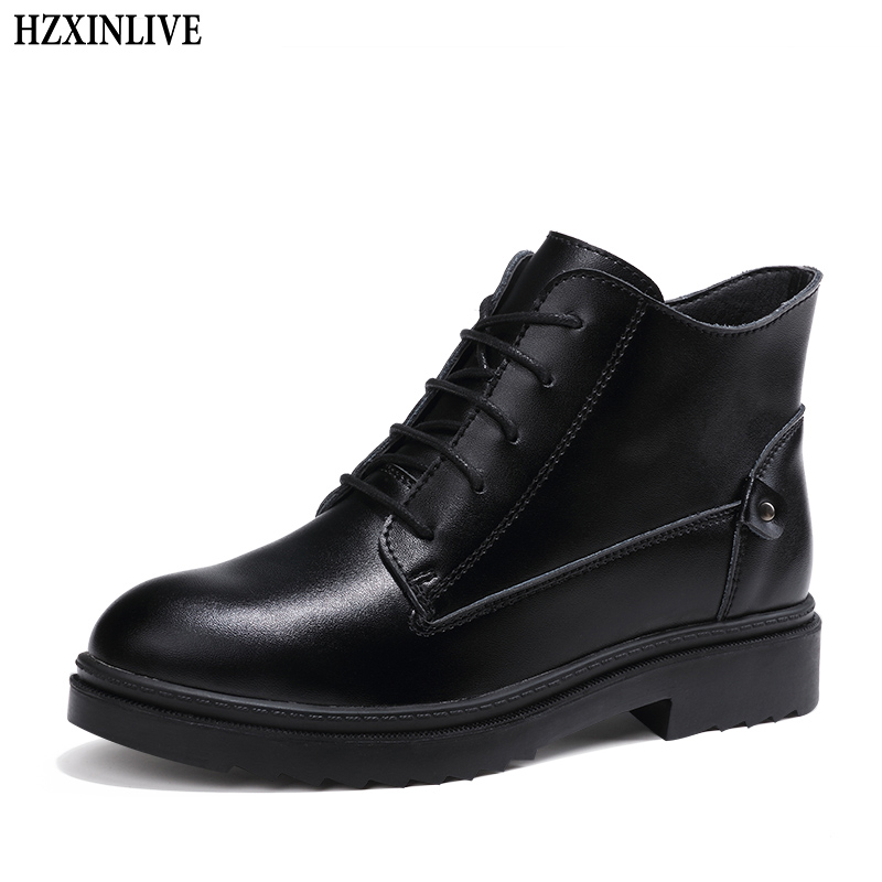 HZXINLIVE 2018 Winter Women Martin Boots Solid Soft Leather Lace-Up Plush Round Toe Boots Women Black Ankle Boots Zapatos Mujer цена