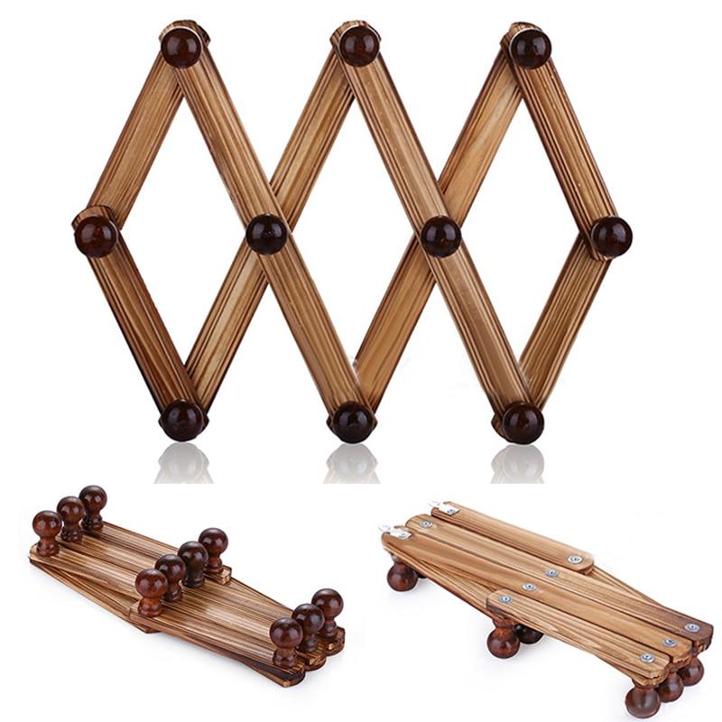 carbonization wood hanger wall mounted expandable accordion peg coat rack hanger hat closet hook expanding fold hanger 10 hooks