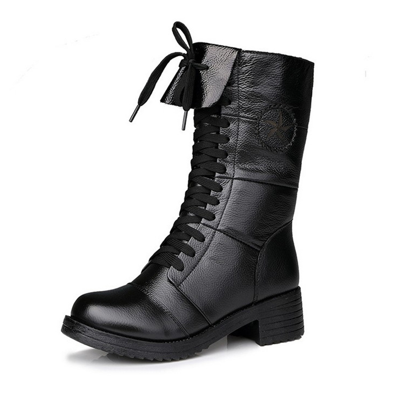 Autumn Winter 2017 England Style Women Leather Shoes Genuine Leather Martin Boot Shoes Women Shoelace Mid-Calf Motorcycle Boots women martin boots 2017 autumn winter punk style shoes female genuine leather rivet retro black buckle motorcycle ankle booties