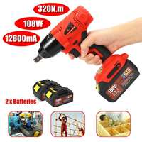 320Nm 108VF Cordless Impact Drill Driver Kit Powerful Combo Kits w/2x 12800mAh Lithium Ion Batteries Power Tools