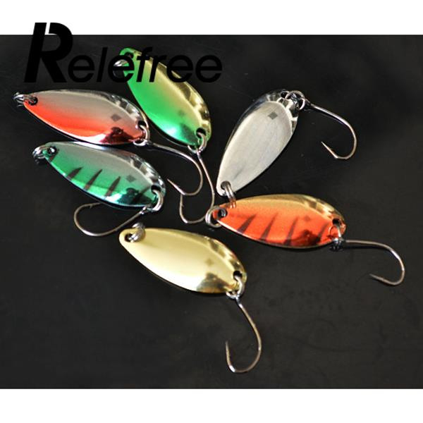 Relefree 6Pcs Artificial Spoon Lures Hard Bait Spinner Bait Multicolor Fishing Spoon Lure Trout Lure Bass Lure wldslure 1pc 54g minnow sea fishing crankbait bass hard bait tuna lures wobbler trolling lure treble hook