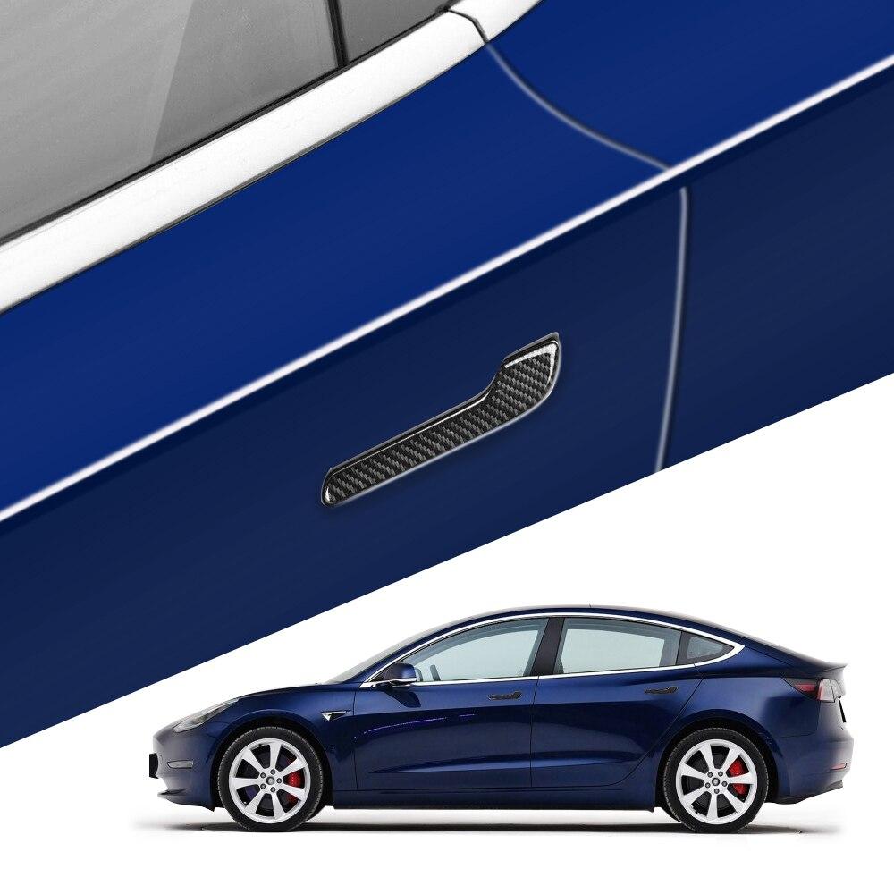 Car Door Handle Cover Sticker Trim Protector for Tesla Model 3 Epoxy Carbon Fibe