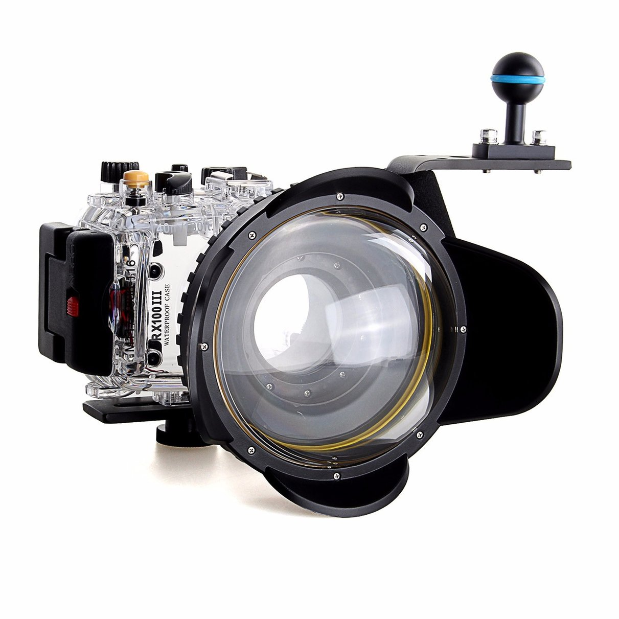 40m/130f Waterproof Underwater Housing Case For Sony RX100 III + Red Filter + Fisheye dome port Lens+ Aluminium Diving handle 30 mi diving dome port underwater lens housing for xiaoyi 4k xiaoyi 2 camera with waterproof case hood cover case pistol tigger