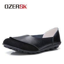 OZERSK Woman Flock Shoes Woman Ladies Casual Shoes Lady Loafers Women's Flats Slip On Shoes Real Leather Shoes 35~42(China)