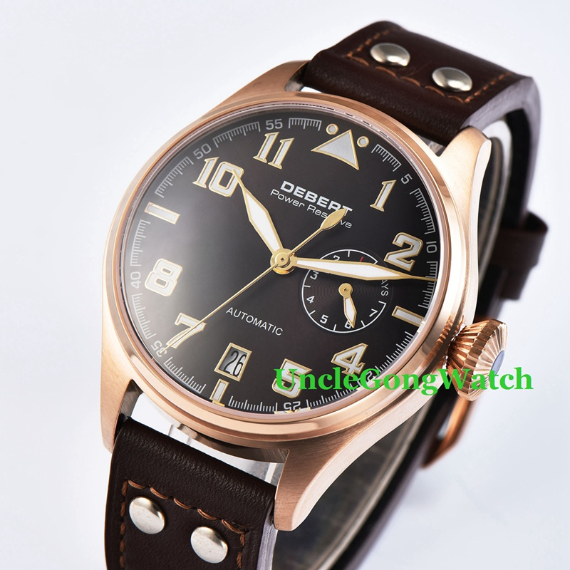 42mm DEBERT Black Dial Power Reserve Sapphire Glass Rivets Leather Strap Mens Automatic Rosegold Case WristWatch 42mm debert black luminous dial armbanduhr black leather auto movement mens automatic watches lume hands wristwatch