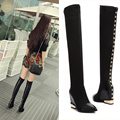 Women's Fall Wedge Pointed Toe Over The Knee Boots Stretch Slip-on Black Slim Tall Boots Real Leather Patchwork Long Boots Shoes