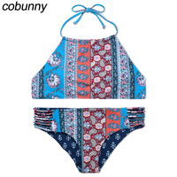 Cobunny 2017 Halter Bikini Set Women Swimsuit Push Us High Neck Swimsuit Printed Bathing Suit Maillot