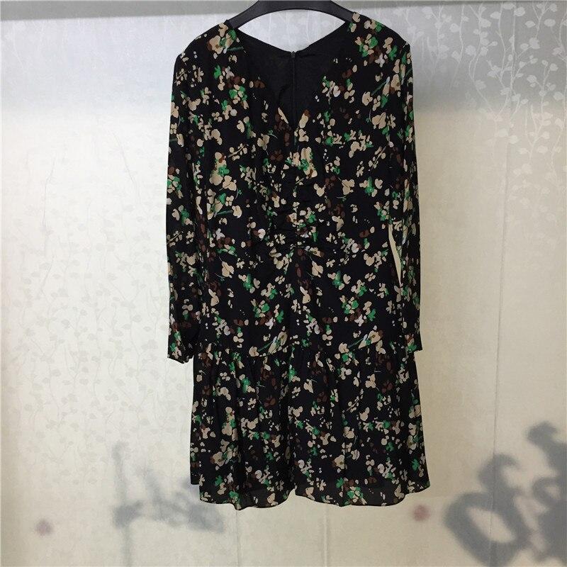 A-ligne robe pour les femmes imprimer à manches longues v-cou Mini dame robe pour la fête 2018 nouvelles femmes robe en vente