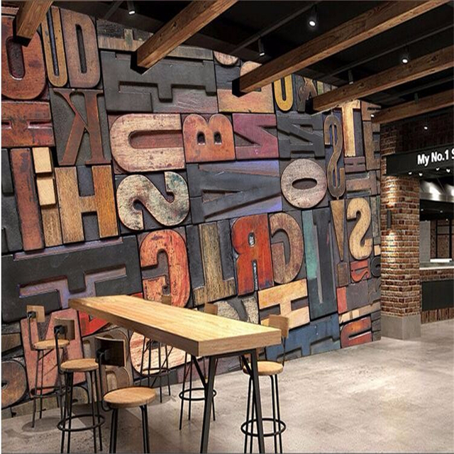 Beibehang Photo Wallpaper High Quality D Stereo Wood Letter Wallpaper Cafe Pub Mural Of The Living