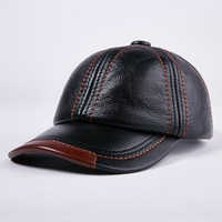 Winter Genuine Leather Baseball Caps Men Golf Peaked Dome Hats Male Adjustable Ear Warm Casquette Leisure Peaked Cap B 7209