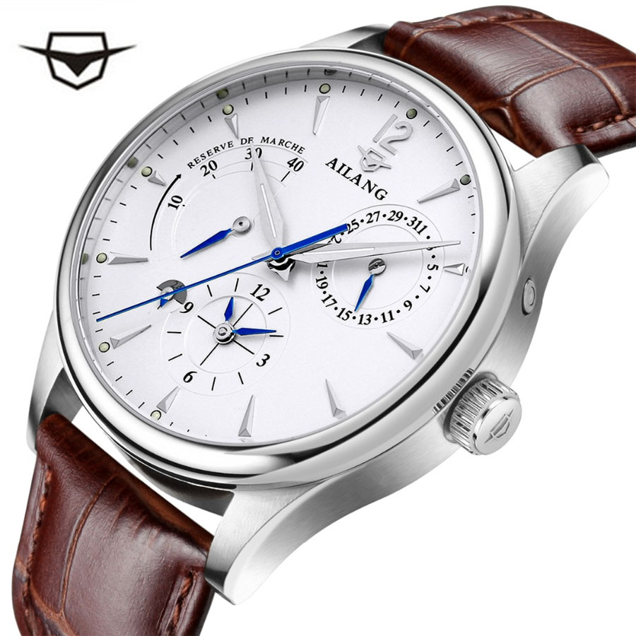 Men Multi-Functional Automatic Mechanical Silver Man's Watch Leather Swatch Case Band Leisure Clock