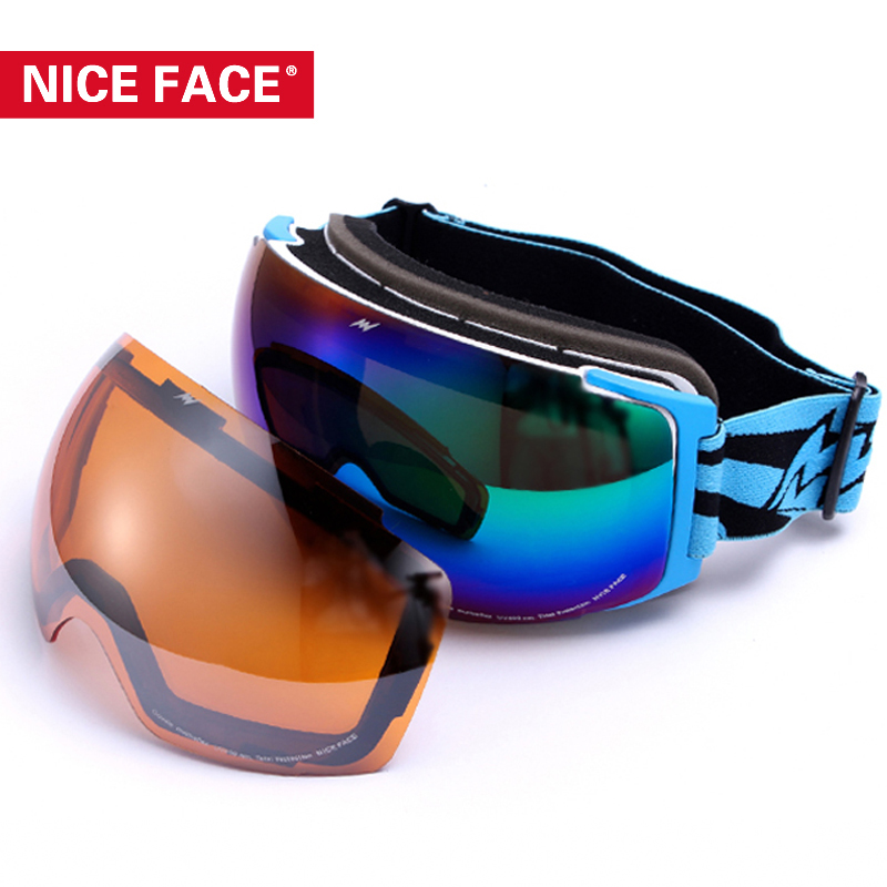 2017 NiceFace Men Two Lenses Skiing Goggles Women Snowboarding Mirror Dual Layer All-Weather Ski Eyewear Snow Glasses NF141153 polisi winter snowboard snow goggles men women double layer large spheral lens skiing glasses uv400 ski skateboard eyewear