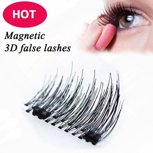 df35439bd0c Lmlly 4pcs/Pair 3D Magnetic Eyelashes Easy Extension Full Strip Magnetic  False Eyelashes Cosmetic Synthetic Hair Eyelashes