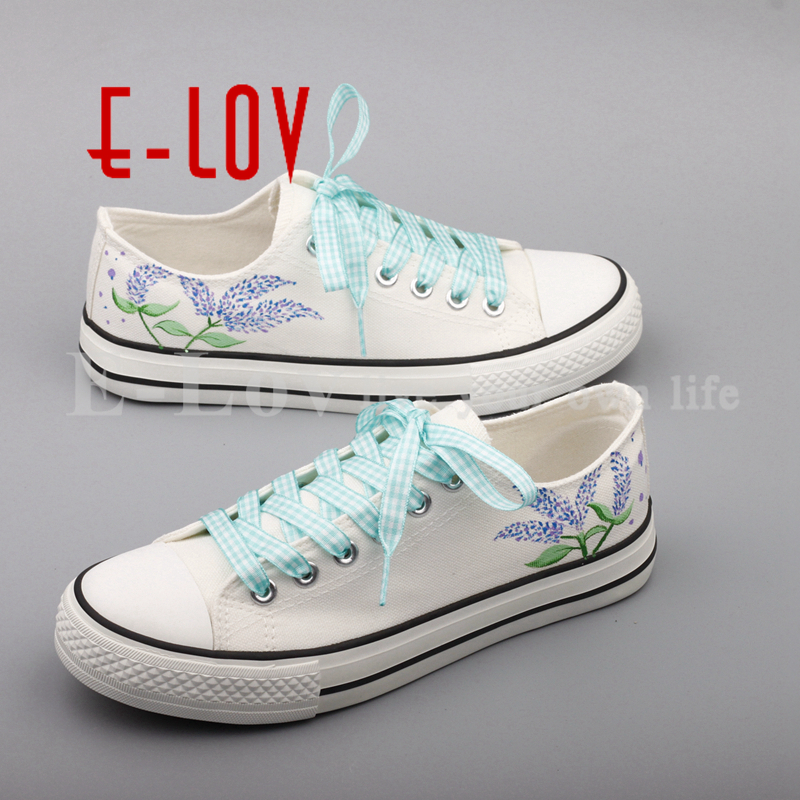 E-LOV Hand Painted Canvas Shoes Women Dream Graffiti Beautiful Flowers White Flat Shoes Espadrilles zapatos e lov hand painted graffiti horoscope canvas shoes custom luminous graffiti gemini casual flat shoes women zapatillas mujer