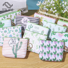 TTLIFE PU Leather Coin Purses Storage Bags Women Small Cactus Print Handbag Lady Mini Zipper Pouch Key Card Holder Wallet Bag women s coin purses lady polyester pailette hasp small wallet change pouch key card holder clutch handbag wholesale y