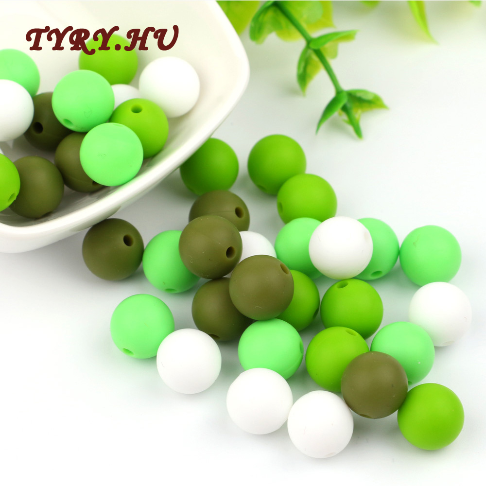 TYRY.HU 20pc 19mm  Silicone Beads Diy Baby Teether Teething Necklace Accessories Pacifier Clips Crib Bead Food Grade Teether