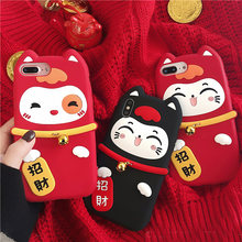 For iPhone XS max Lucky Cat Soft case for iphone XR X 7 7plus 6 6S 6Splus 8 8plus Maneki Neko Festive soft phone case Small bell(China)