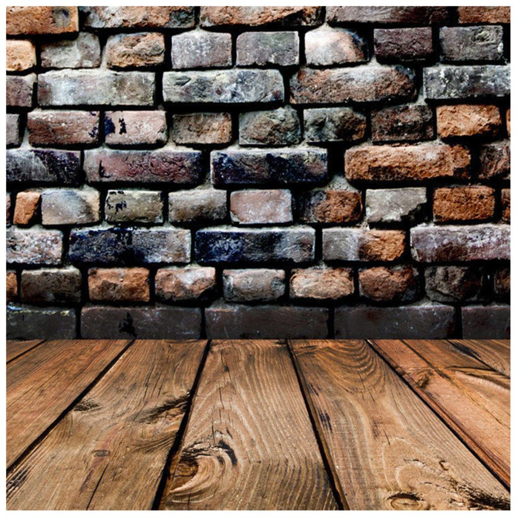 Retro Vinyl Photography Backdrop Brick Wall Wood Floor Background Photo Studio Accessories 5*7FT photography backdrops bright yellow wood wood brick wall backgrounds for photo studio