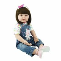 55cm/22'' Reborn Silicone Doll Lifelike Girl Baby Handmade Dolls Soft Touch Vinyl Toddler Baby Toy Collection