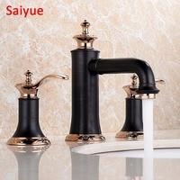 Unique Oil Rubbed Bronze Rose Gold 3pcs Bathroom Lavatory Wash Basin Mixer Tap Brass Black Deck